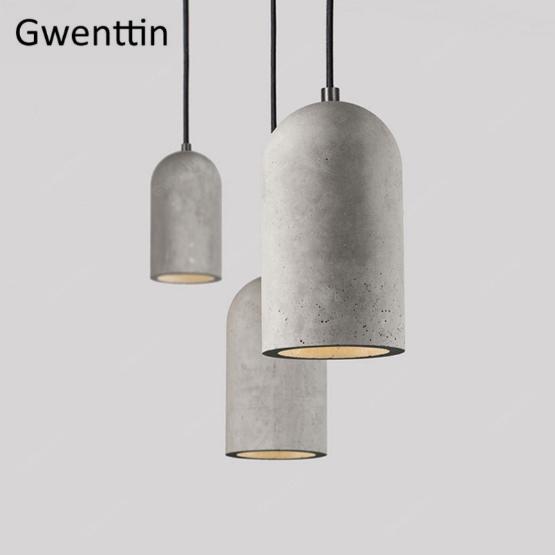 Vintage Cement Pendant Lamp Led Retro Hanging Lights for Dining Room Cafe Light Fixtutes Industrial Lamp