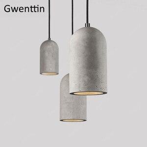Image 1 - Cimento do vintage pingente lâmpada led retro pendurado luzes para sala de jantar café luz fixtutes industrial luminária suspensão