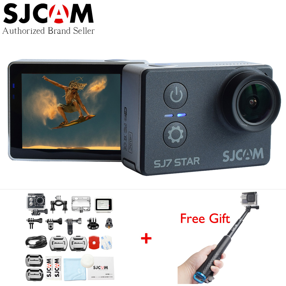 Original SJCAM SJ7 STAR Wifi 4k Touch Screen Ambarella A12S75 30M Waterproof Remote Sports Action Camera with Extra Selfie Stick
