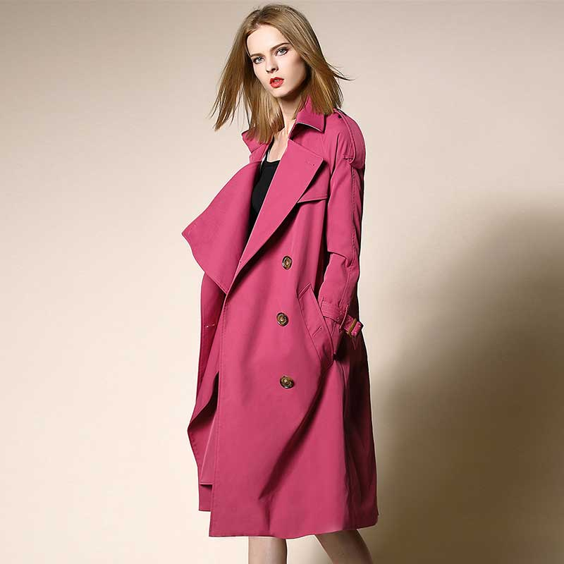 New Women Pink Purple Double Breasted Long   Trench   Coat Female Casual Outwear Elegant Fashion Turn-down Collar Overcoat with Belt