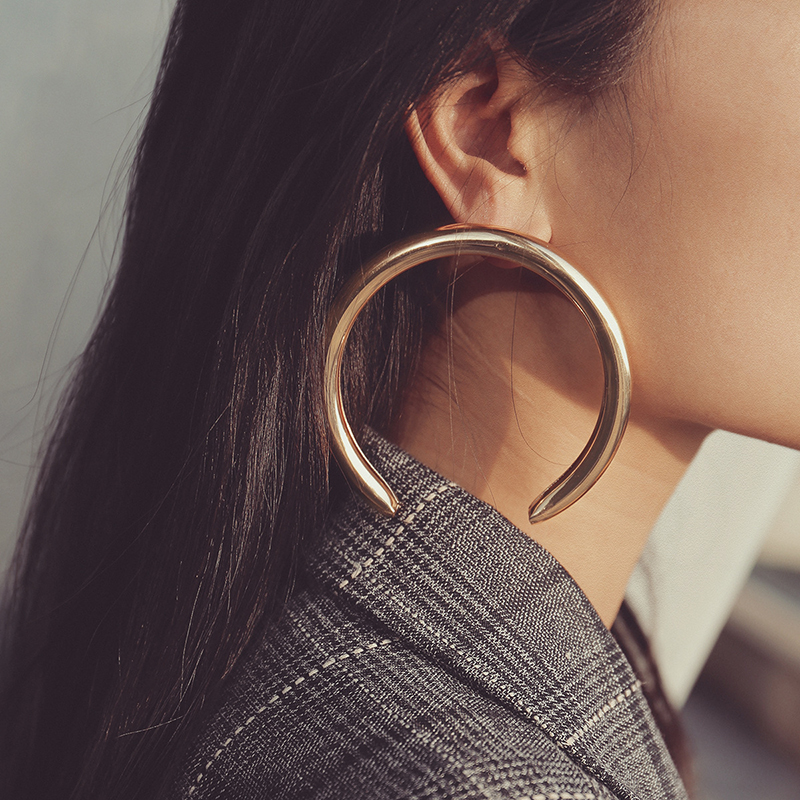 AENSOA Trendy Big Open Round Drop Earrings For Women Exaggerated Punk Gold Color Circle Metal Earring Party Wedding Jewelry