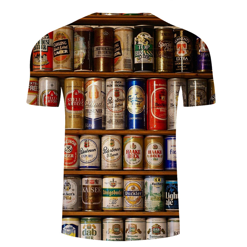 Zomer 2019 herenkleding merk o-hals klok jacket bier korte mouwen 3d t-shirt digital printing T-shirt Homme grote maat 5xl 3