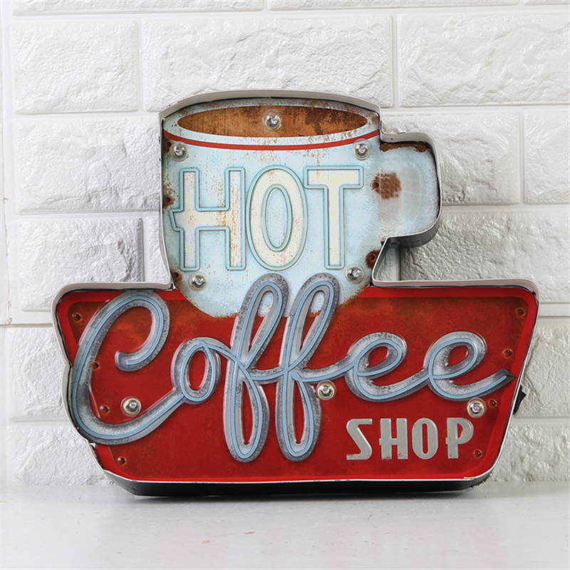 Hot Coffee Vintage Led Neon Light Metal Signs