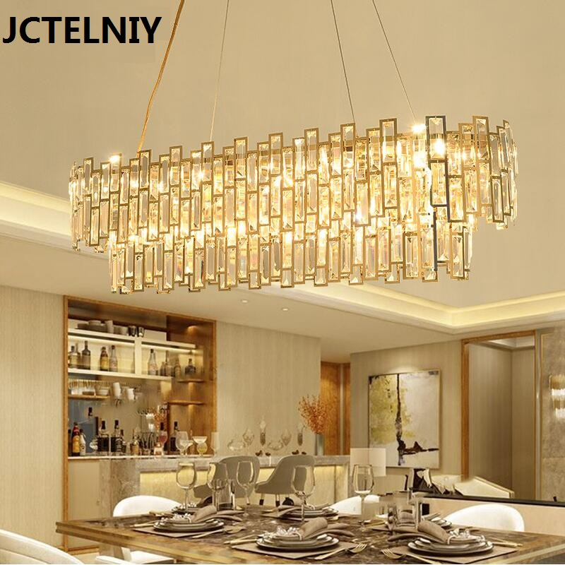 LED crystal restaurant lamp post modern chandelier rectangle creative personality dining room lamp golden light luxury new lamps