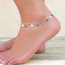 Silver Plated Chain Blue Turquoise Stone Anklet  For Women Sexy Anklet  JK015