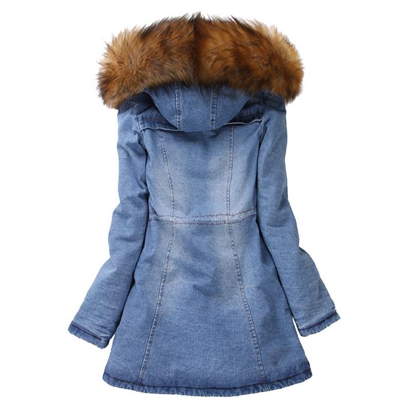 2019 chaquetas de mezclilla para mujer Abrigo con capucha de piel sintética de algodón grueso chaqueta vaquera larga-in Parkas from Ropa de mujer    2