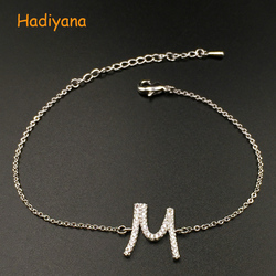 Bracelet HADIYANA Simple Letter Design Classic Fine Rope Adjustable Graceful Dazzling Charm Romantic Top Quality SL571 Pulsera