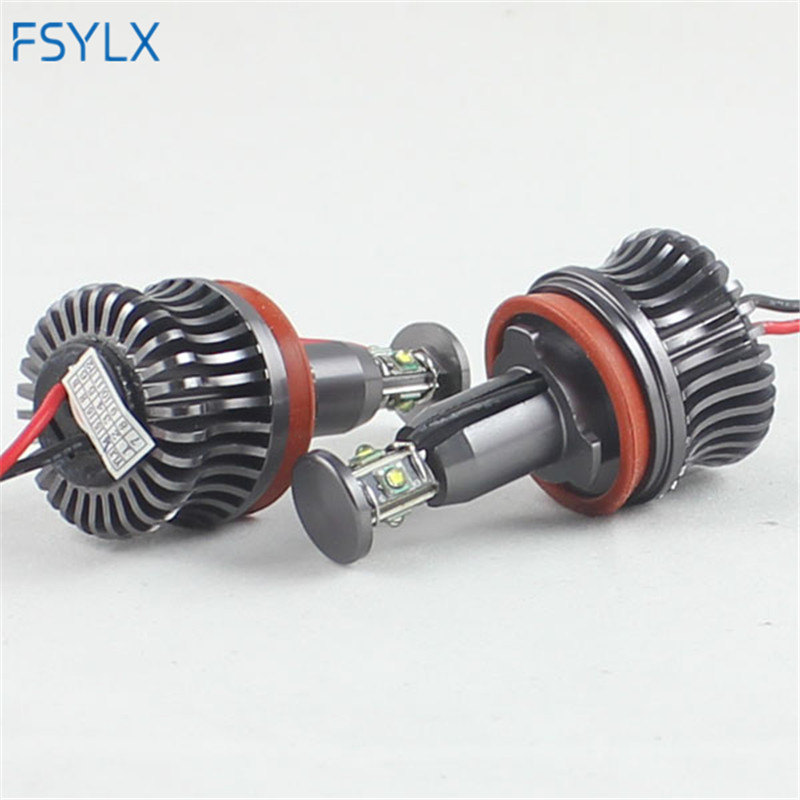 FSYLX 2sets 40W H8 LED Marker Angel Eyes light Bulb xenon headlight for BMW E90 E92 E93 X5 6000K Angel Eyes headlight car Lamp rockeybright 12v 40w bright led marker headlight bulb for bmw e90 e90 lci 7000k white led angel eyes for bmw e90 led headlight