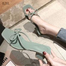 цена на BJYL 2019 Women Pumps High Heels Sexy Peep toe Slip-on Wedding Party Shoes For Lady Square Heels Pumps Slippers High 5cm B221