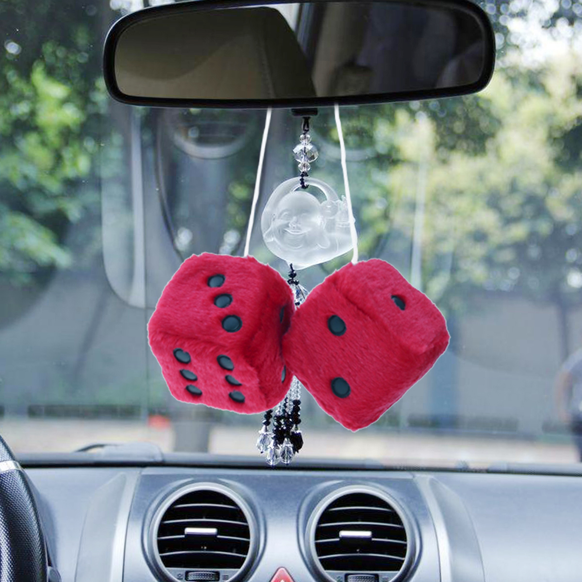 1 pairs Car Hanging Toys Pendants Fuzzy Dice Hanging Charm Auto Car Rearview Mirror Hanging Accessories for Car Decoration