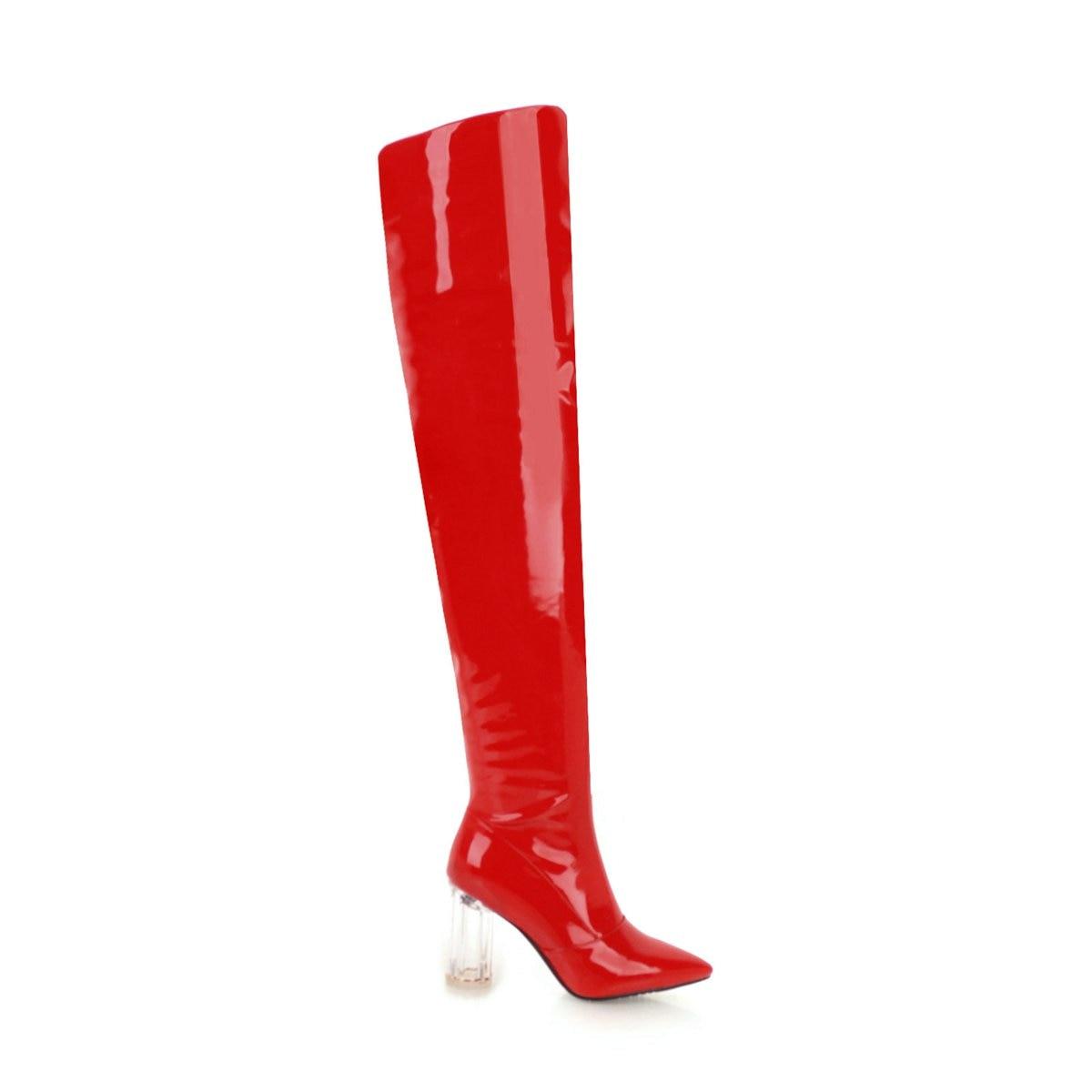 Hiver Sur De Bottes Cuisse argent Bout Noir Pointu En Épais Automne Sexy Tirette Talon Haut Le Femmes Genou Dames rouge Cuir Mode Verni blanc v0UFWqP