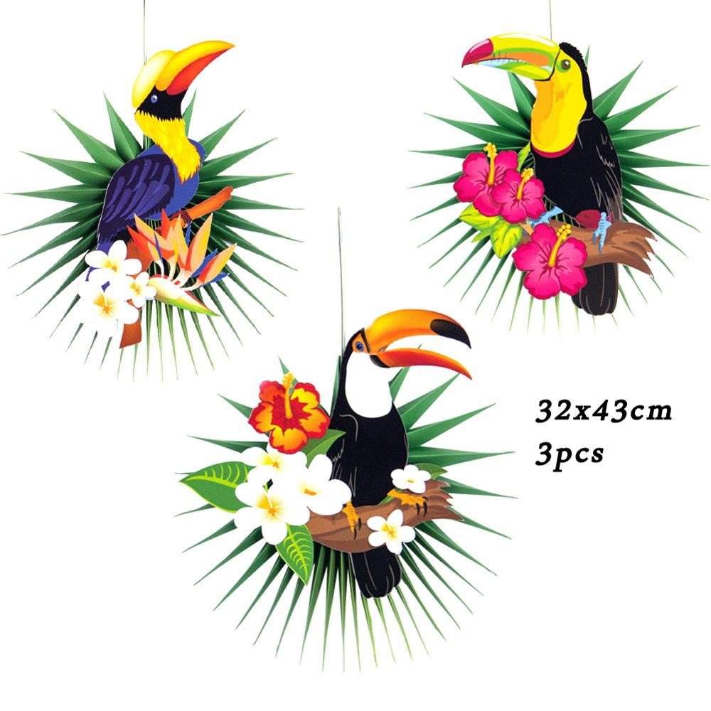 15pcs Summer Hawaiian Party DecorationTropical Toucan Leaves Paper Fans Swirls Pom Poms For kids Birthday Tropical Party Decor in Party DIY Decorations from Home Garden