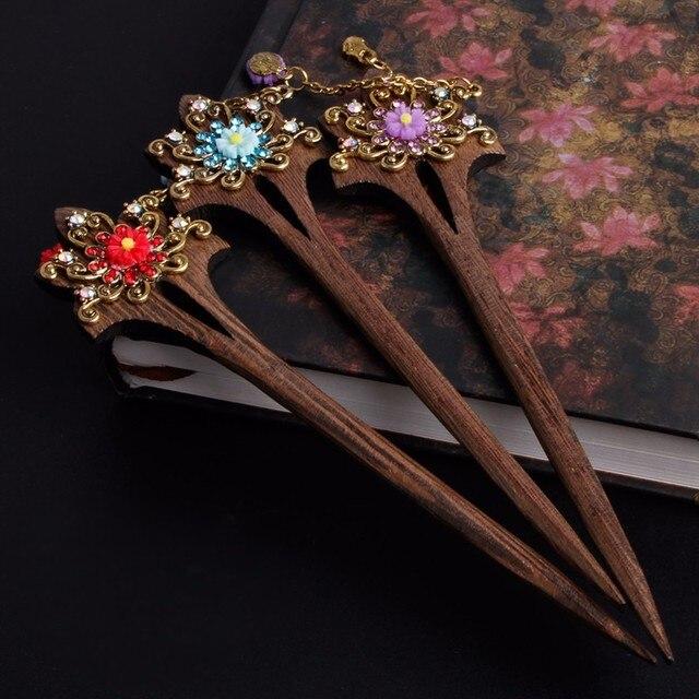 Для женщин деревянная палочка волос Булавки ручной работы со стразами цветок дерева стильный Винтаж hairsticks
