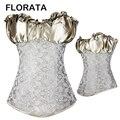 FLORATA Горячая Мода Плюс Размер Кружева Назад Атласная Костей Корсет Невесты Белье Органа shaper Топ