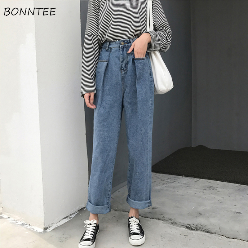 Jeans Women Blue Loose Full-length High Waist Wide Leg Washed Cuffs Zipper Fly Womens Jean Trendy Leisure Simple All-match Chic