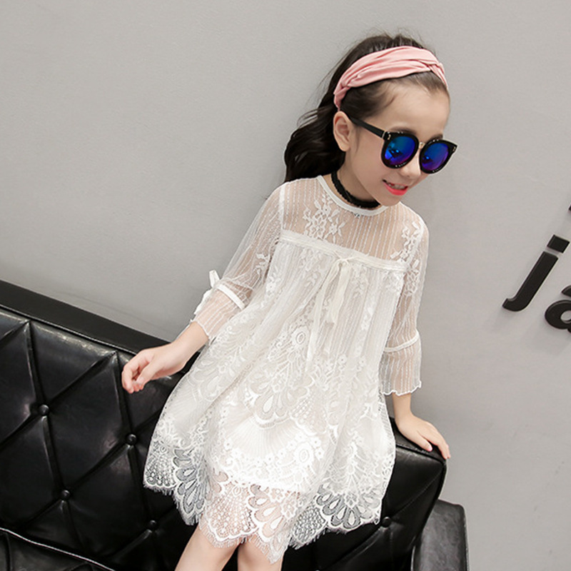 Girl Lace Dress for Age 3-10 Years Big Kids Princess Wedding Party Clothes White Sweet Flower Three Quarter Sleeve Bow Dresses girl lace long dress with sweet flower for age 3 7 baby kids princess wedding prom party white cream big bow long sleeves dress
