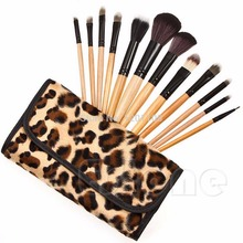 Fashion 12 Pcs Professional Cosmetic Tool Makeup Brush Set Brushes Leopard Bag