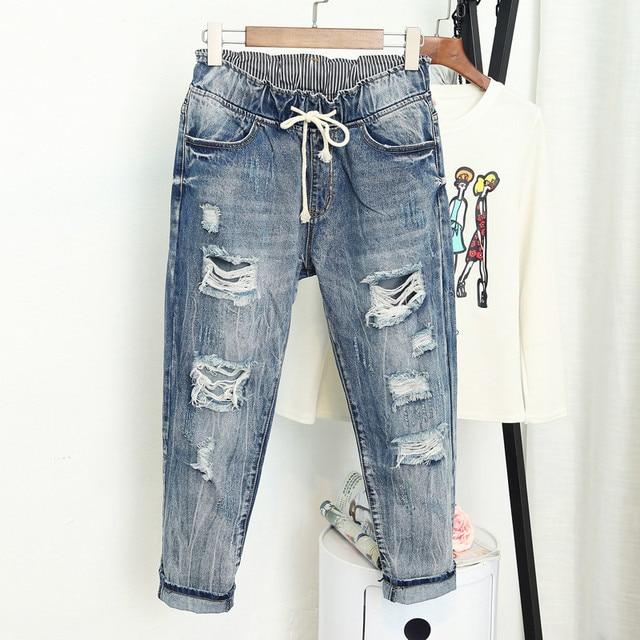 Verão rasgado namorado jeans para as mulheres moda solta vintage cintura alta jeans plus size 5xl pantalones mujer vaqueros q58