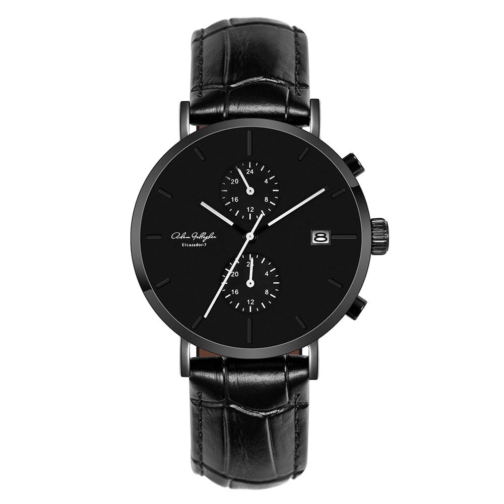 Мужские кварцевые часы водонепроницаемые наручные часы ЯПОНИИ выводят итальянский slub Pattern Leather Strap Watch арочные сапфировое стекло