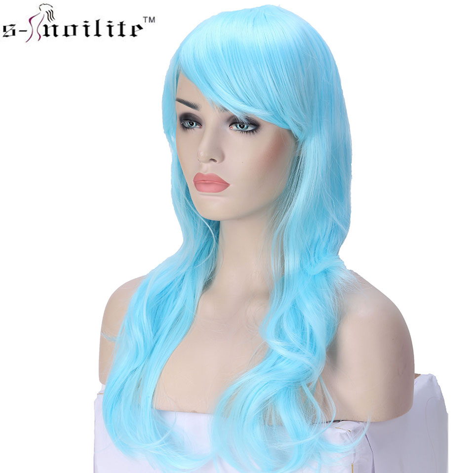 SNOILITE 23inch Long Loose Wave Cosplay Wigs Pink Black Blue Brown Red Women Wig Heat Resistant Synthetic Wig For Cosplay