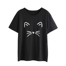 New Harajuku Cat Printed Women T-shirts Casual Tee Tops Wome