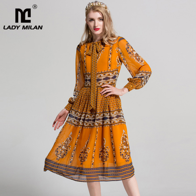 New Arrival 2018 Womens Bow Detailing Long Sleeves Floral Printed Designer Fashion Runway Dresses
