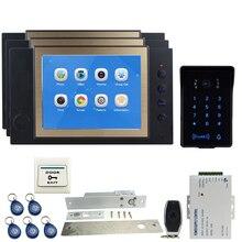 JEX Video Door Phone Intercom system Kit 8 inch Voice/Video Record Black Monitor +Waterproof Password Keypad RFID Camera 1V3