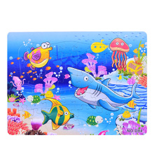 3D Paper jigsaw puzzles toys for children kids brinquedos Ocean World puzzle educational Baby Shark Fish Crab Puzles