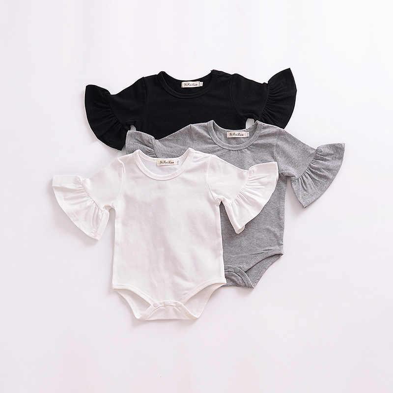 Детская одежда для девочки, летний Боди с расклешенными рукавами для новорожденных, черный, серый, белый цвет, однотонный комбинезон для новорожденных, Детская летняя одежда, костюм