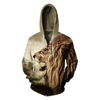 Hot Sale New Fashion Lion 3D Printing Men/Women Hoodies Cap Windbreaker Jacket Casual Men Sweatshirts S 3XL