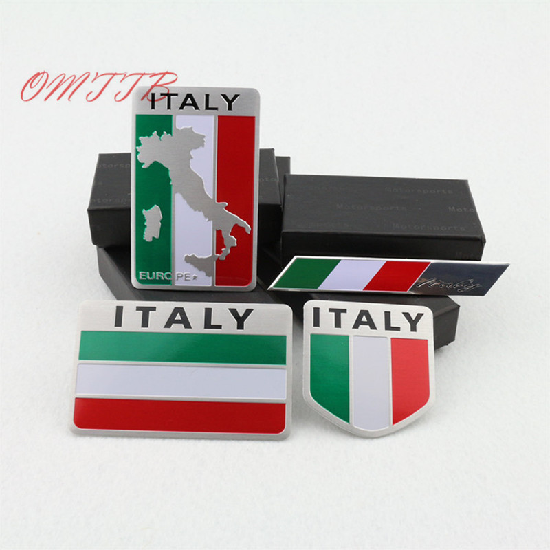 3D Aluminum Italy car Sticker Italy Flag Car-styling accessories Emblem stickers For chevrolet skoda honda Auto Badge Decal 1 pair door protector anti collision canada flag emblem 3d car stickers creative car styling automobile accessories
