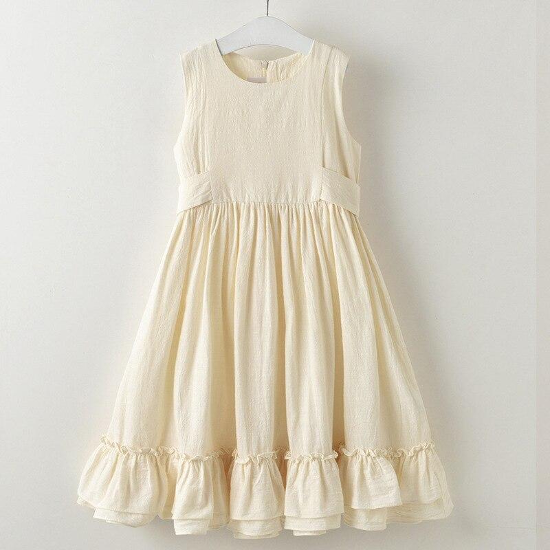 2019 verano nueva niña de lino de algodón vestido largo sin mangas - Ropa de ninos - foto 3