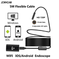JCWHCAM 8LED 10 Mt Flexible Schlange USB WIFI Endoskop Kamera HD 720 P 8mm 2MP IOS Endoskop Android Rohr inspektion Kamera 5 Mt