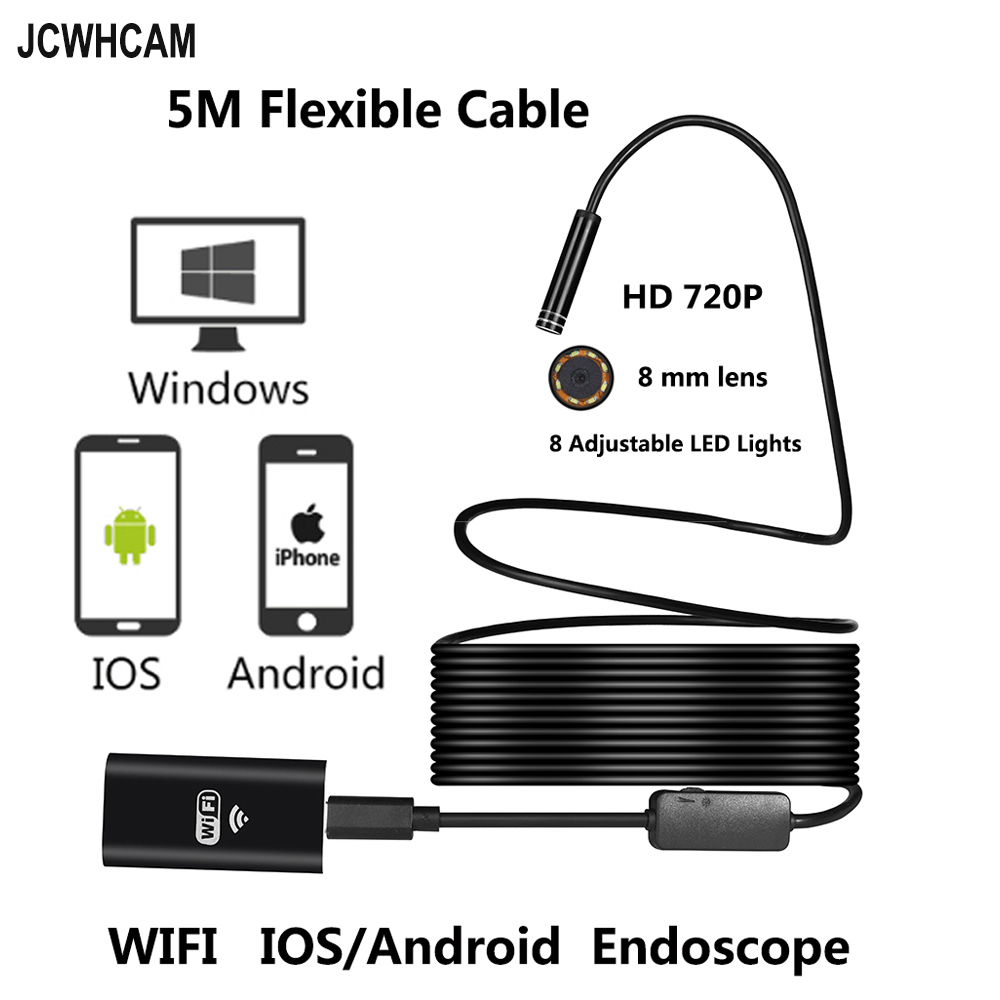 JCWHCAM 8LED 10M Flexible Snake USB WIFI Endoscope Camera HD 720P 8mm 2MP IOS Endoscope Android Pipe Inspection Camera 5M gakaki hd 8mm lens 20m android phone camera wifi endoscope inspection camera snake usb pipe inspection borescope for iphone ios
