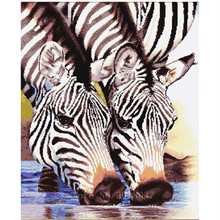 Diamond Embroidery Water Zebra Lovers Diy 3D Painting Cross Stitch Full Square Mosaic Decorative Picture Sticker