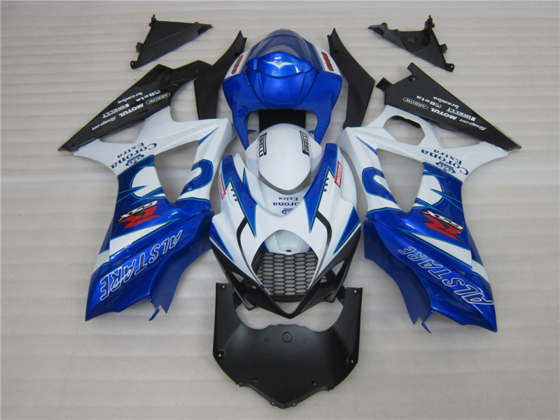 Blue white ALSTARE ABS bodywork fairing FOR suzuki K7 GSXR1000 2007 2008 GSXR 1000 07 08 bodywork fairings abs motorcycle parts for suzuki gsxr 1000 k7 k8 07 08 fairing kit gsxr1000 2007 2008 white silver black fairings set js87
