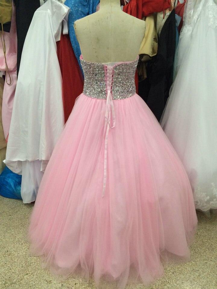 Real Photo Balón vestido de Novia Con Cuentas de Tul Lace Up Pink ...