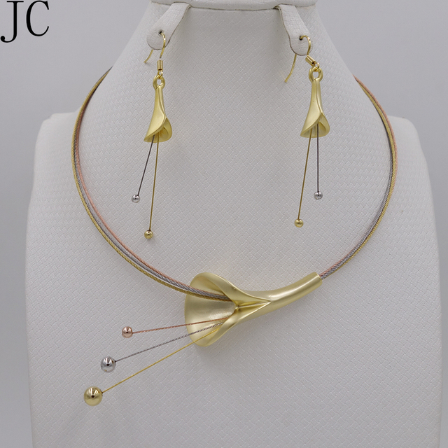 New High Quality set Dubai African 18k  real Gold Plated 3color set Fashion Wedding Bridal Costume Jewelry Sets