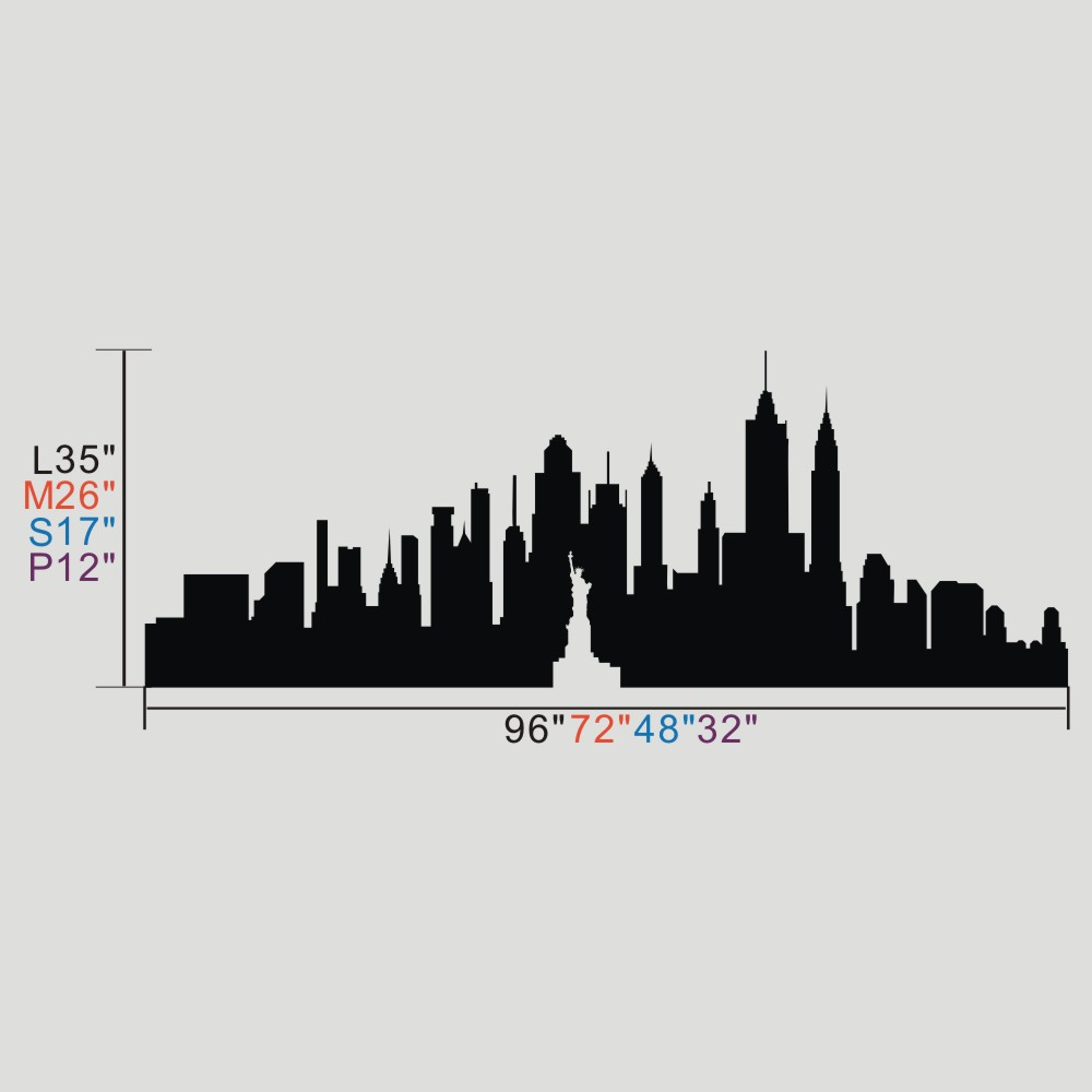BATTOO New York City Skyline Silhouette Wall Art The Big