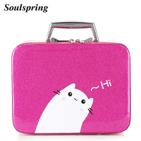 Brand Patent Leather Cosmetic Bag Box Cute Cat Women Make Up Bag Toiletry Suitcase Makeup Organizer