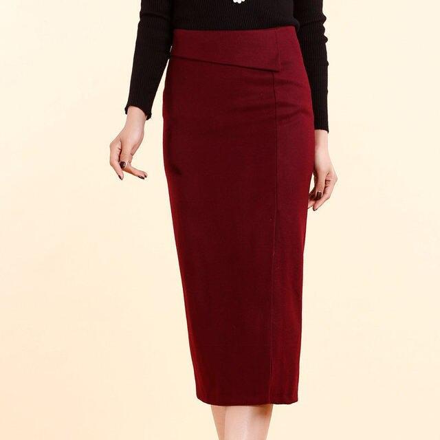 cfcda38e374 Autumn Winter Women Long Skirts Side slit Thick Plus Size Pencil Skirt  Ladies Elegant Slim Hip Woolen Skirts Women XS - 4xl 5XL