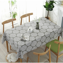 American Retro Style Flower Pattern  Gray Tablecloth Cotton Linen Rectangular Dining Table Cloth Tovaglia Hotel Textile
