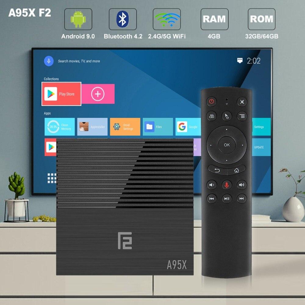 A95X F2 controle de Voz Inteligente CAIXA de TV Android 9.0 K Bluetooth 4.2 set top box 4 GB 32 4 GB s905X2 Amlogic Quad-Core 2.4G/5G Dual Wi-fi