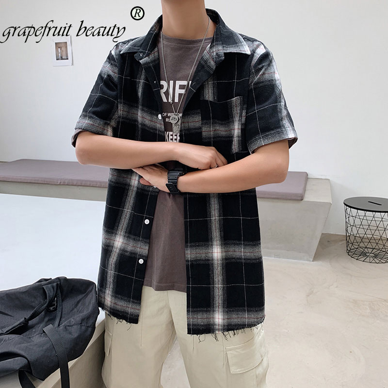 Summer Personality Hong Kong Version Of The Trend Of Color Matching Plaid Shirt Men's Casual Hip Hop Loose Long-Sleeved Shirt 5x