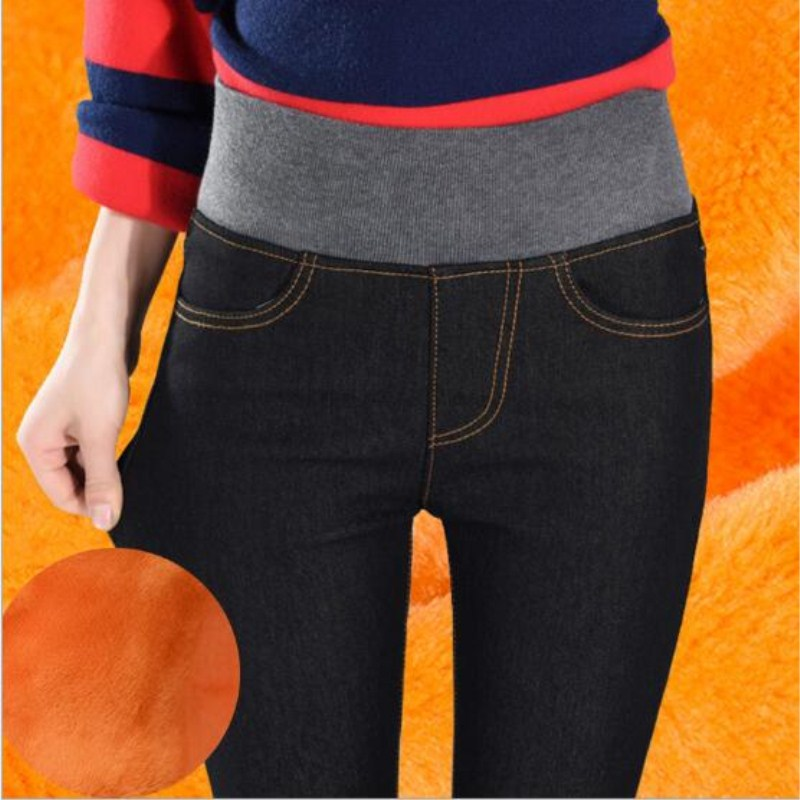 WKOUD High Waist Jeans Femme Gold Fleeces Warm Denim Pants Skinny Winter Thick Trousers For Women Black Jeans Plus Size P8511