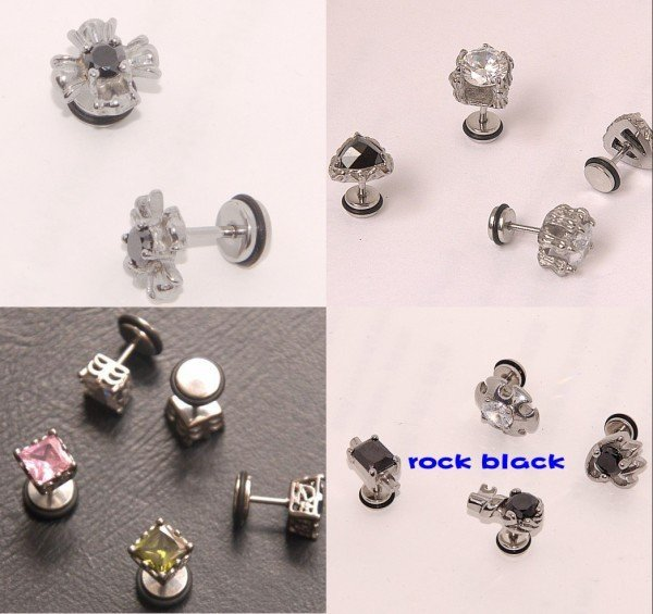 New arrived 8 designs Unique Square ear stud fake ear plug pin earring  mens earring men's jewelry body jewelry ERT70