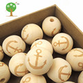 20mm wood round ball bead anchor shaped burnt engrave diy accessory wooden craft for teether boy ocean EA143