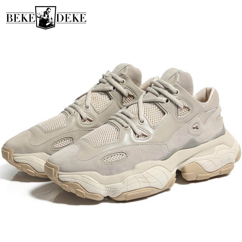 Vintage Lace Up Chunky Platform Shoes Men Brand Breathable Increasing Sneakers Zapatillas Hombre Deportiva
