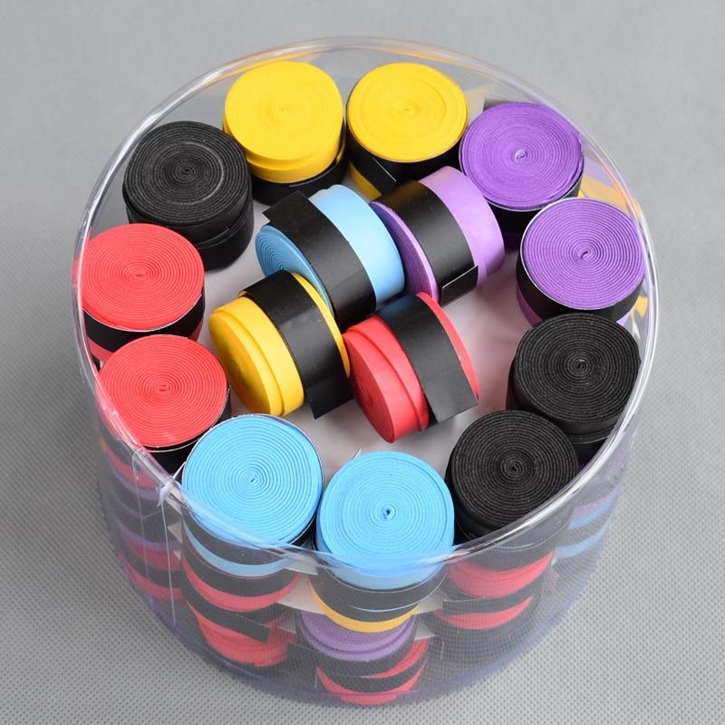 (60 Pcs/lot)  Dry Feel Various Colors Tennis Racket Grip Anti-skid Sweat Perforated Badminton Grips Racquet  Overgrip