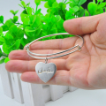 Wholesale 925 Sterling Silver Adjust Bangle Personalized Arabic Heart Wire Bangle Mom's Gift